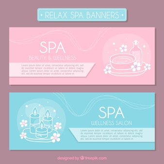 Banners de spa de tonos pastel con dibujos