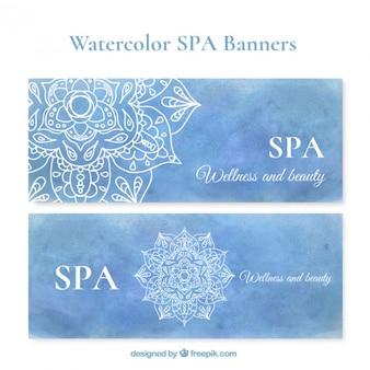 Banners de spa en acuarela azul