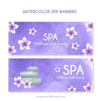 Banners de spa en acuarela