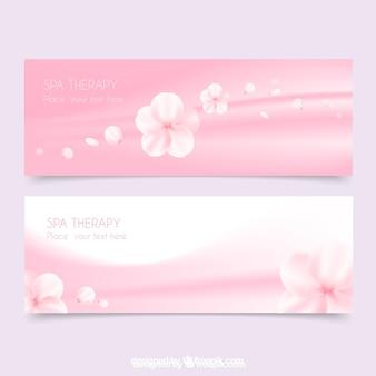 Banners de spa en color rosa con flores