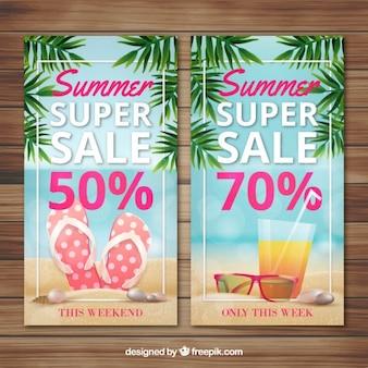 Banners de super rebajas de verano