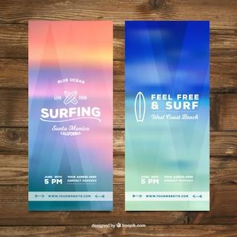 Banners de surf de colores desenfocados