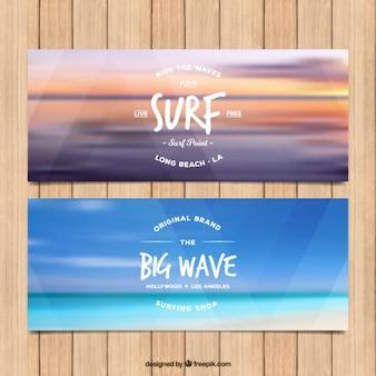 Banners de surf de mar desenfocado