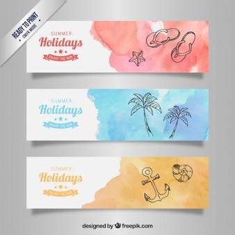 Banners de vacaciones de acuarela