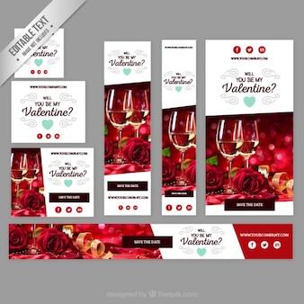 Banners de vasos de vino de valentín