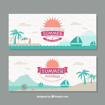 Banners de verano con elementos verdes en diseño plano