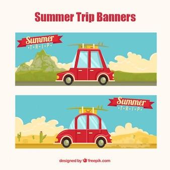 Banners de verano de viajes de carretera
