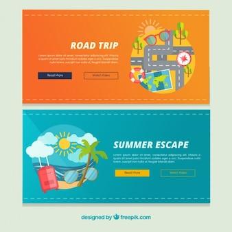 Banners de verano y de viaje