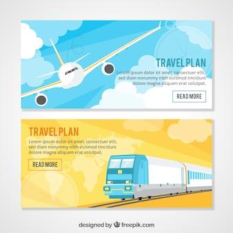 Banners de viaje con avión y tren