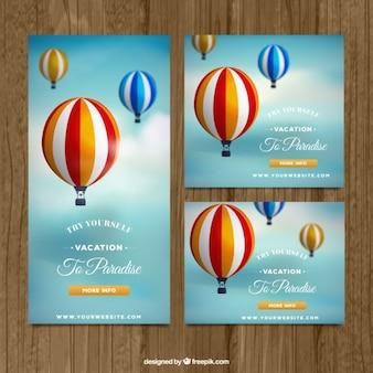 Banners de viaje con globos