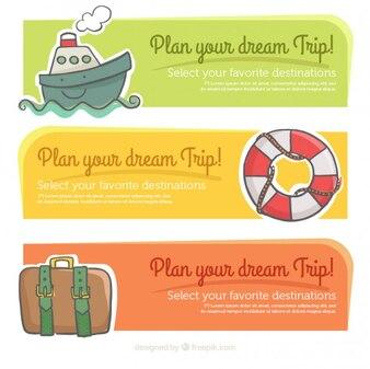 Banners de viaje con simpáticos elementos dibujados a mano