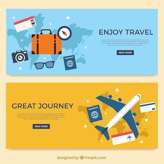 Banners de viaje con varios artículos en diseño plano