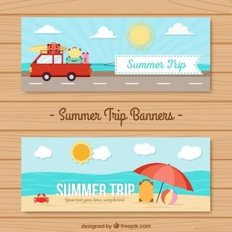 Banners de viaje de verano en diseño plano