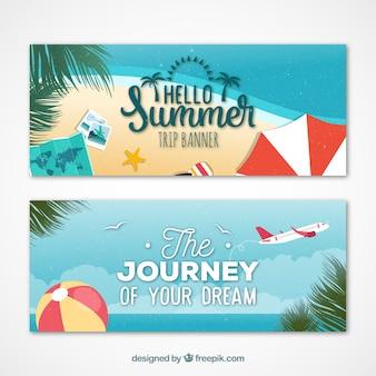 Banners de viaje de verano en la playa