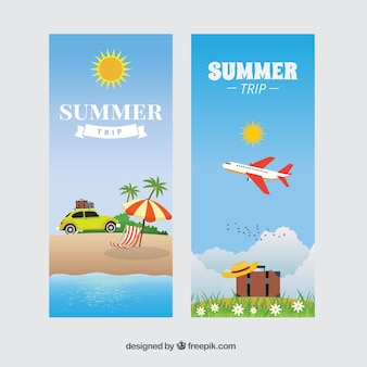 Banners de viaje de verano