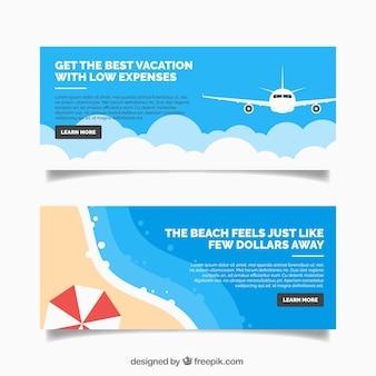 Banners de viaje decorativos en diseño plano