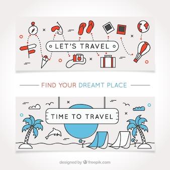 Banners de viaje dibujados a mano con artículos decorativos