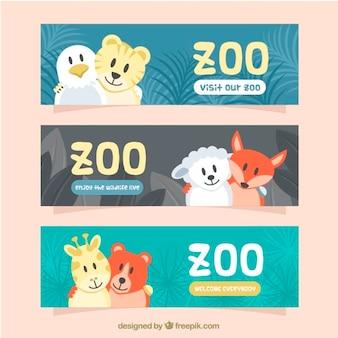 Banners de visita al zoo con animales adorablles