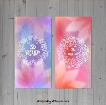Banners de yoga borroso con mandala