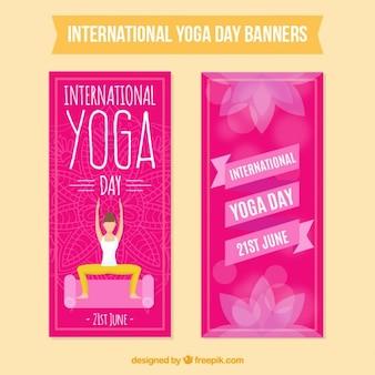Banners de yoga rosa