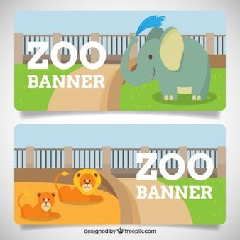 Banners de zoo con adorable elefante y leones