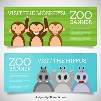 Banners de zoo con simpáticos y adorables animales
