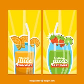 Banners de zumos de fruta coloridos