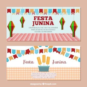 Banners decorados de fiesta junina