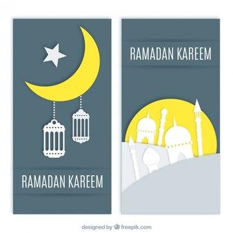 Banners decorativos de ramadan