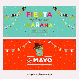 Banners del cinco de mayo coloridos con bombillas