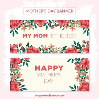 Banners del día de la madre de amapolas