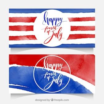 Banners del día de la independencia abstractos en estilo de acuarela