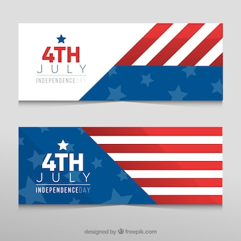 Banners del día de la independencia con banera americana abstracta