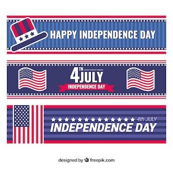 Banners del día de la independencia con elementos decorativos en diseño plano