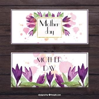 Banners del día de la madre con flores lilas de acuarela