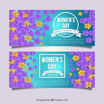 Banners del día de la mujer con decoración floral