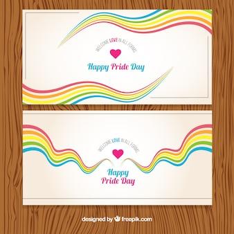 Banners del día del orgullo de ondas coloridas