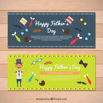 Banners del día del padre con artículos masculinos decorativos