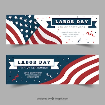 Banners del día del trabajo con bandera y confeti