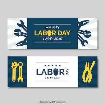Banners del día del trabajo con herramientas