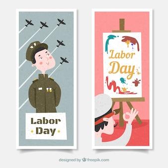 Banners del día del trabajo con soldado y pintor en diseño plano