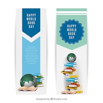 Banners del día mundial del libro en diseño realista