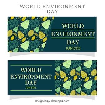 Banners del día mundial del medioambiente con hojas en tonos verdes