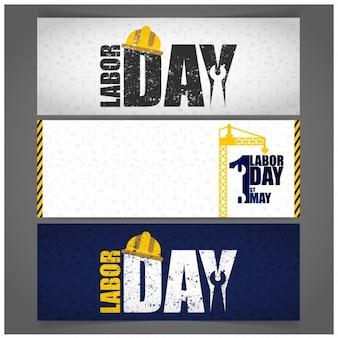 Banners desgastados del día del trabajo