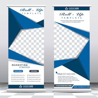Banners desplegados de origami azul