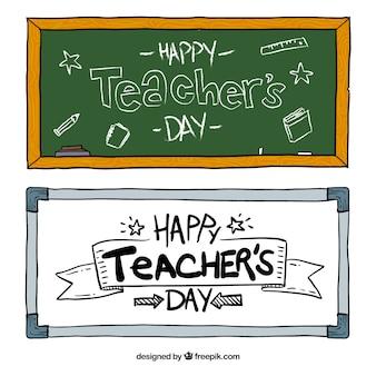 Banners dibujados a mano para el día del profesor