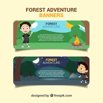 Banners divertidos sobre la aventura bosque