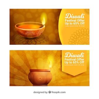Banners dorados de diwali