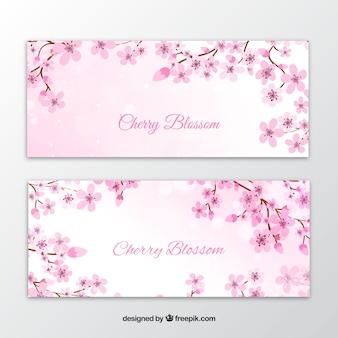 Banners elegantes de flores de acuarela