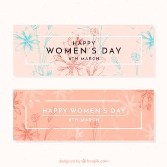 Banners elegantes del día de la mujer con bocetos de flores